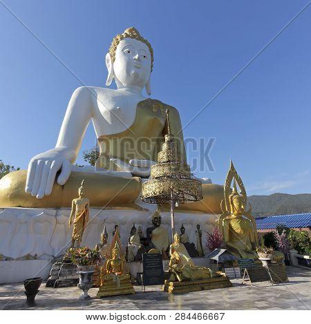 Chiang Mai, Thailand, December 25. Wat Phra That Doi Kham Temple On December 25, 2018, Near Chiang M