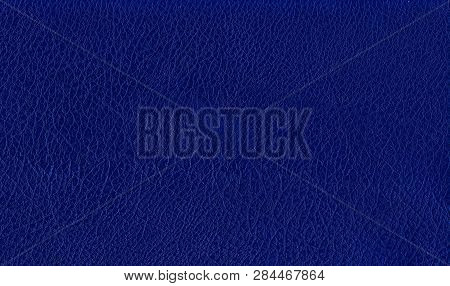 Deep Dark Blue Color Luxury Genuine Cow Leather Texture Background. Close Up Photography Of Sofa, Ch