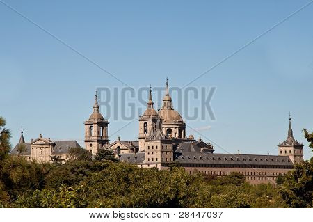 San Lorenzo De El Escorial Monastery Spires , Spain On A Sunny Day