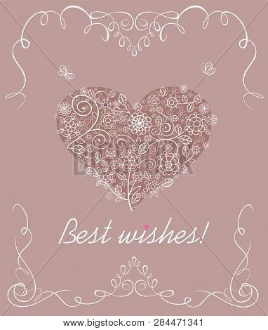 Sweet decorative card for Mothers day, birthday, Valentines day and arrival greeting with lacy flowers heart poster