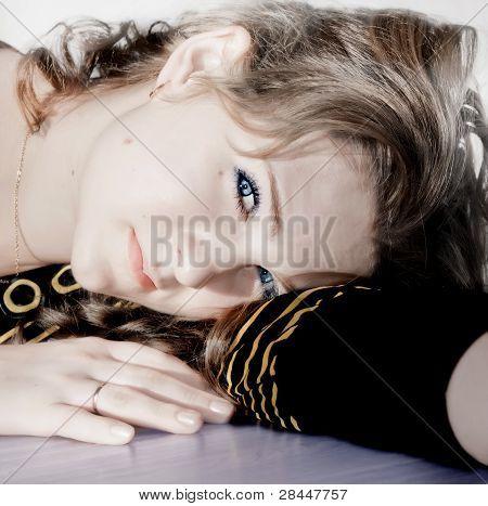 Closeup of young beautiful woman face