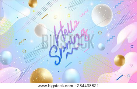 Hello Spring Banner. Trendy Textured. Season Vocation, Weekend, Holiday Logo. Spring Time. Happy Spr