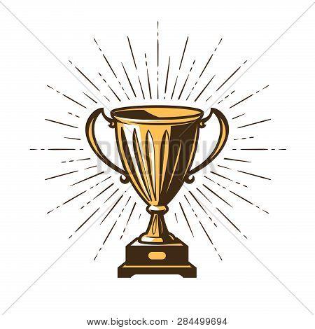 Winners Trophy Award. Win, Winning, Champion Symbol. Vector Illustration