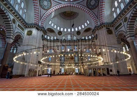 Istanbul, Turkey - May 17, 2015: Interior Of The Suleiman Mosque (suleymaniye Camii) Is A Grand 16th