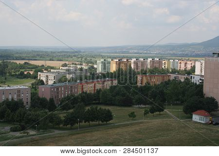 cityscape of Pecs with the block of flats poster