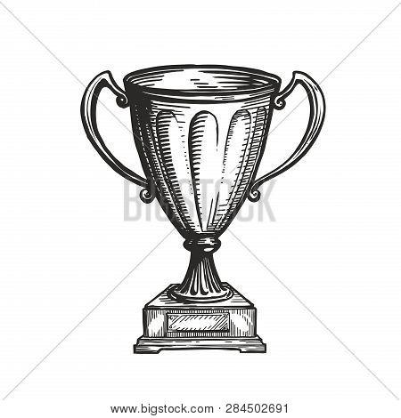 Winner Trophy Award. Win, Winning, Champion Symbol. Hand Drawn Sketch Vector Illustration