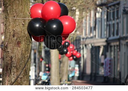 Red And Black Balloons On The Zeugstraat In Gouda On Valentines Day