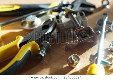 Do It Yourself Diy Accessories - Locksmith Tools, Wrenches, Screwdrivers, Pliers, Nuts And Bolts On
