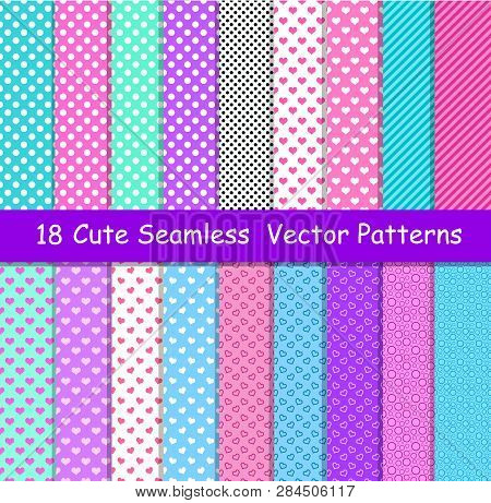 Seamless Vector Patterns In Lol Doll Surprise Style. Endless Background With Hearts, Stripes And Pol