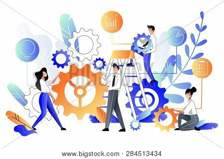 Young People Build Abstract Construction From Multicolor Gear Cogs, Business Metaphor. Vector Flat S
