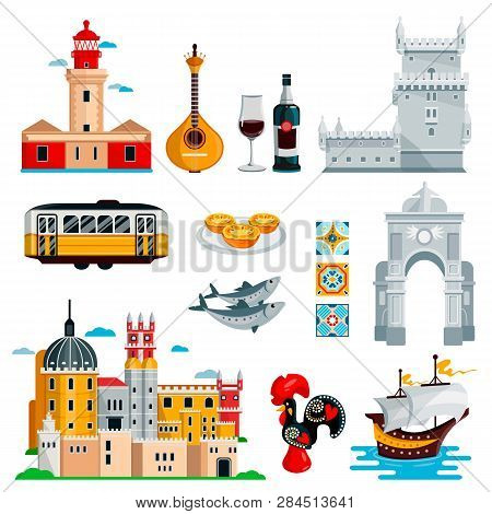Travel To Portugal Icons And Isolated Design Elements Set. Vector Portuguese And Lisbon Culture Symb