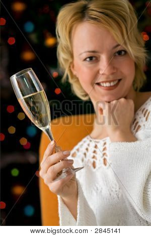 Woman With Champagne Celebrating