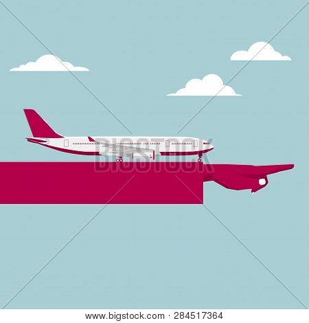A Passenger Plane Parked On The Arm. Arm Mid-air,clouds Float In The Sky.