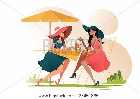 Flat Young Girl Friends In Cafe On Meeting Outdoors. Concept Woman Characters With Umbrella And Cup