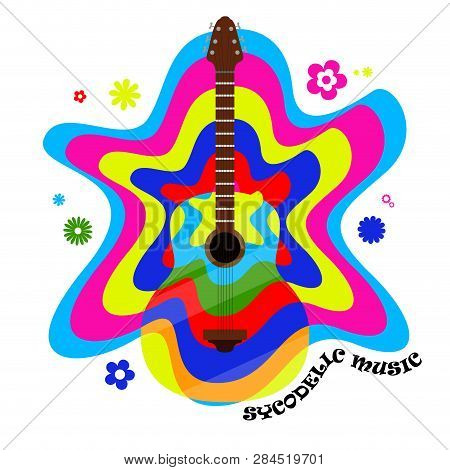 Colored Psychodelic Music Label With Guitar And Flowers. Vector Illustration Design