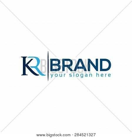 Letter K And R On White Background, Flat Design