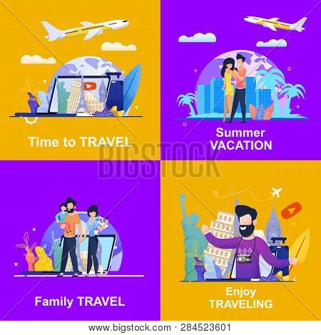 Set Banner Illustration Advertising Travel Company. Viewing On Laptop Video Blog Is Time To Travel.