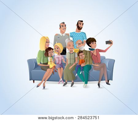 Happy Members Of Big Family Gathered Together At Home Making Selfie, Shooting Group Portrait On Cell