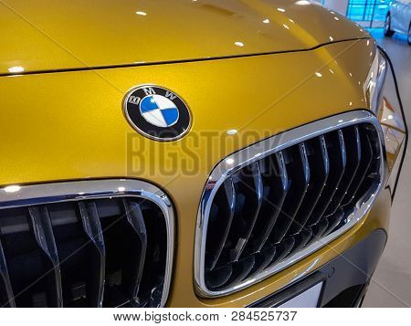 Gdansk, Poland - February 8, 2019: BMW logo in the car showroom of Gdansk, Poland. BMW is a German automobile, motorcycle and engine manufacturing company founded in 1916