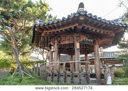 Jeonju, South Korea - September 2018: Old Wooden Pavilion Built In Korean Traditional Architecture I
