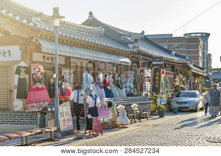 Jeonju, South Korea - September 2018: Hanboknam (korean Traditional Dress) Rental Shop In Jeonju Han