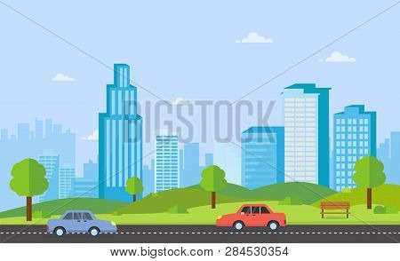 Public Park With Bench Main Street City With Cars, Sky And Cityscape Background.beautiful Nature Sce