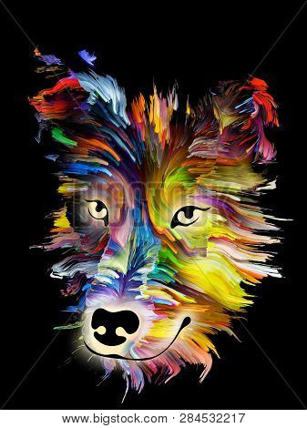 Dog digital portrait in bright colors on black background on subject of love, friendship, faithfulness, companionship between dog and man. God bless animals series. poster