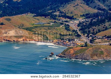 Rugged Coastal Cliffs And Pacifica State Beach In San Mateo County, Northern California, Flying From