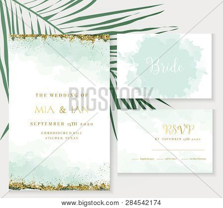 Stylish Dusty Emerald Watercolor And Gold Glitter Vector Design Cards. Golden Art Foil Frames. Tropi