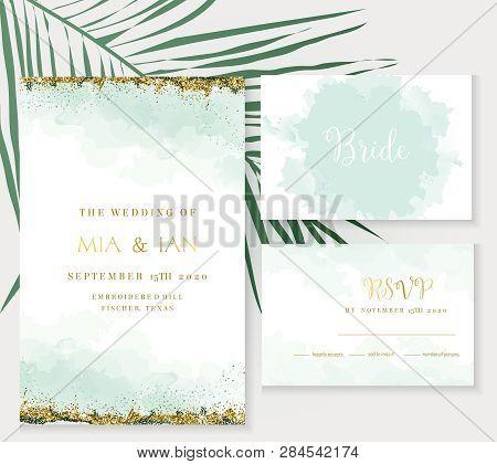 Stylish Dusty Emerald Watercolor And Gold Glitter Vector Design Cards. Golden Art Foil Frames. Tropi