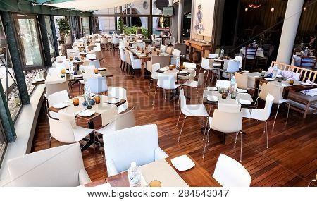 Interior Of Up-market Greek Bistro Restaurant