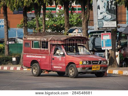 Red Mini Truck Taxi Chiangmai.