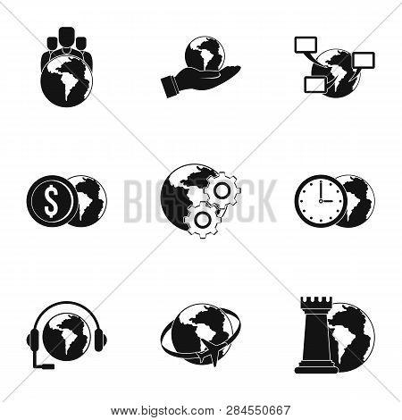 Global Comunity Icon Set. Simple Set Of 9 Global Comunity Icons For Web Isolated On White Background