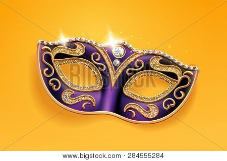 Shining Diamonds On Carnival Mask. Colombina Face Cover For Masquerade Or Costume Party. Man And Wom