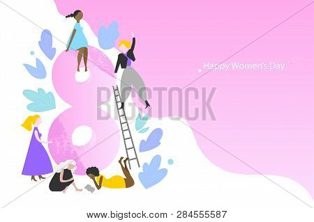 International Womens Day Vector Banner Template. Modern Multinational Women In Different Outfits. Di
