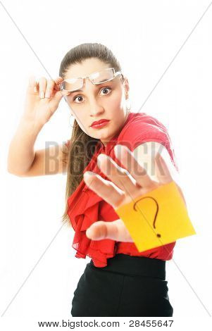 young attractive businesswoman with a sticky note with a question mark on her hand