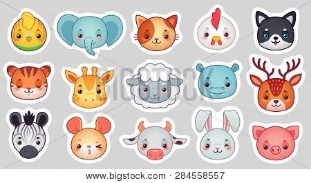 Cute Animal Stickers. Smiling Adorable Animals Faces, Kawaii Sheep And Funny Chicken Cartoon Vector