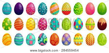 Easter Eggs. Spring Colorful Chocolate Egg, Cute Colored Patterns And Happy Easter Decoration Cartoo