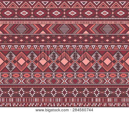 Navajo American Indian Pattern Tribal Ethnic Motifs Geometric Seamless Background. Bohemian Native A