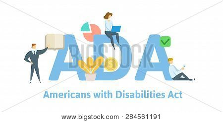 Ada, Americans With Disabilities Act. Concept With Keywords, Letters And Icons. Flat Vector Illustra