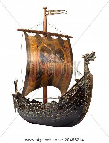 Antique Viking Ship Isolated On White
