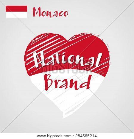 Vector Flag Heart Of Monaco, National Brand. Monaco Flag In Shape Of Heart, Pencil Strokes Drawing.
