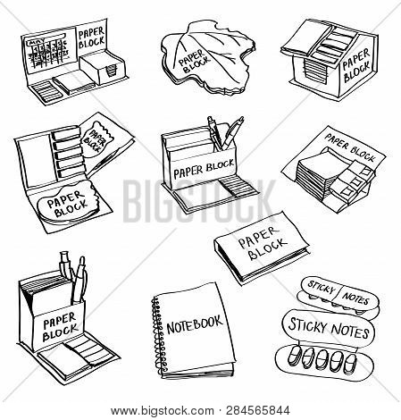 Set Of Hand Drawn Paper Products Doodles Isolated On A White Background. Vector Illustrations Of Pap