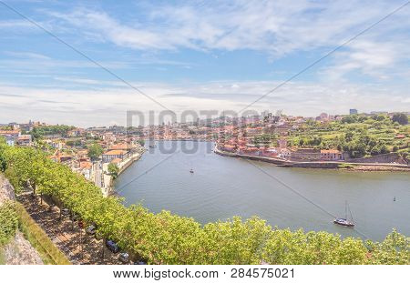 View Of The Douro River From The Cristal Palace Gardens Or Jardins Do Palaio De Cristal. Porto, Port