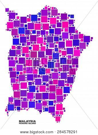 Mosaic Penang Island Map Isolated On A White Background. Vector Geographic Abstraction In Pink And V