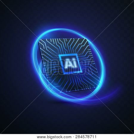 Artificial Intelligence Concept. Vector 3d Technology Illustration Of Micro Chip With Circuit Board