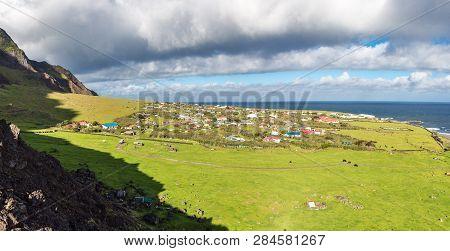 Edinburgh Of The Seven Seas Town Aerial Panoramic View, Tristan Da Cunha, The Most Remote Inhabited