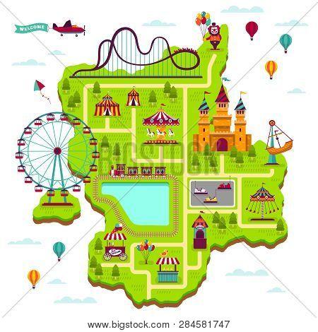 Amusement Park Map. Scheme Elements Attractions Festival Amuse Funfair Leisure Family Fairground Kid