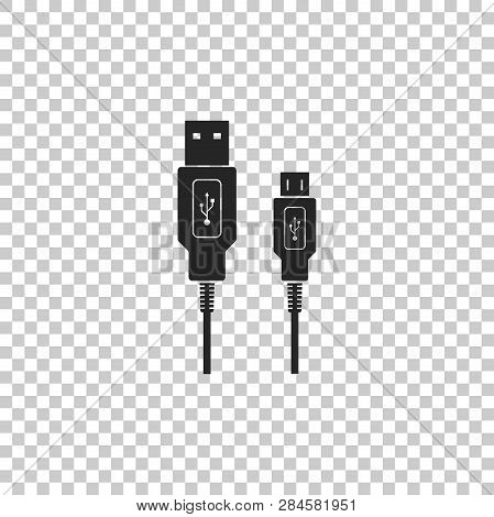 Usb Micro Cables Icon Isolated On Transparent Background. Connectors And Sockets For Pc And Mobile D