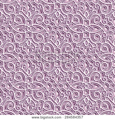 Lace Texture, Swirly Seamless Pattern, Lacy Ornament In Pink Color, Elegant Tulle Background For Wed